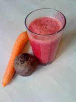 Beetroot and Carrot Juice 3 carrots 2 uncooked beetroot 1 apple thumb of ginger teaspoon of linseed oil