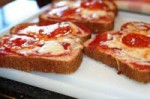 Top toast with hidden blended pizza/pasta suace